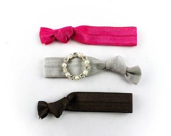 Pearl Wreath Hair Tie Set - 3 Rhinestone and Elastic Hair Ties that Double as Bracelets