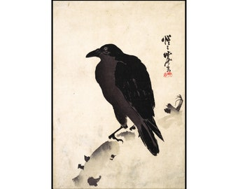 Crow Print - Crow Digital Print - Japanese Vintage Print - Minimalist Print - Japanese Art - Digital Download - Digital Print - Kyosai