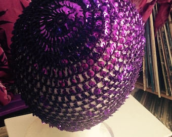Sequin crochet cotton hat magenta/other colors available