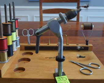Fly Tying Station - Cherry wood - Handmade in North Carolina - Compact - Fly Tying Bench