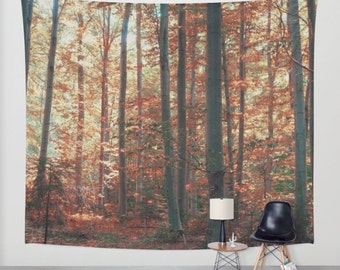 high quality wall tapestry, wall hanging, forest tapestry, nature theme, bohemian, trees, leaves, autumn, three sizes