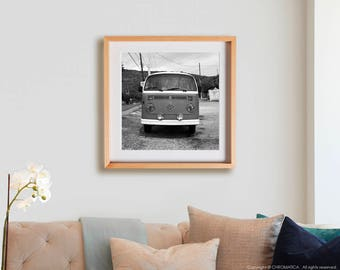 Volkswagen Camper Print.  Cars, black and white, abstract, 4x4, decor, wall art, artwork, large format photo.