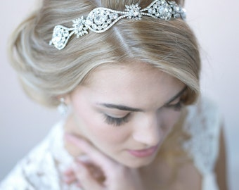 Rhinestone Bridal Headband, Vintage Wedding Headband, Bridal Hair Accessory, Bridal Headpiece, Bride Headband, Antique Headband  ~TI-3275