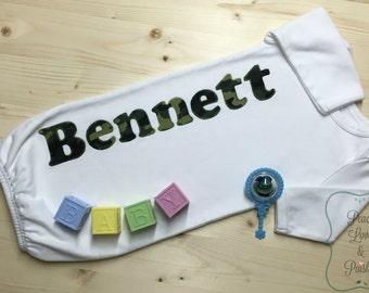 Personalized Baby Boy Gown, Personalized Baby Boy, Newborn Gown, Personalized Baby Gown, Monogrammed Baby Outfit, Going Home Outfit, Camo