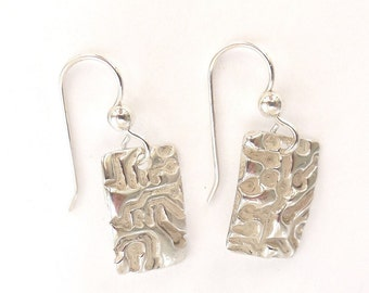 Sterling circuit earrings, circuit board accessories, engineer gift, computer jewelry