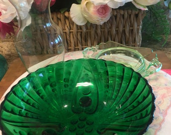 Anchor Hocking Emerald Burple Pattern serving bowl