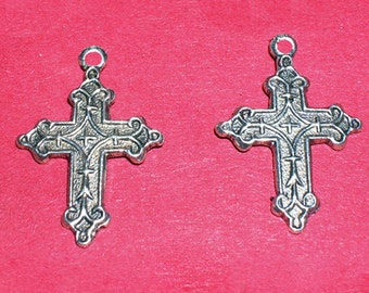 Breloques, earrings, pendant, cross, silver plated, x 4