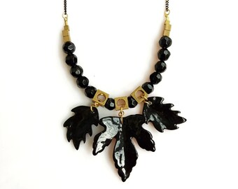 Black Beaded Statement Necklace, Oal Leaf Necklace, Resin Necklace, Goth Necklace