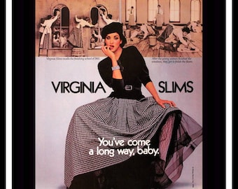1986 Virginia Slims Cigarettes Ad - Wall Art - Home Decor - 80s Style - Retro Vintage Tobacco Advertising