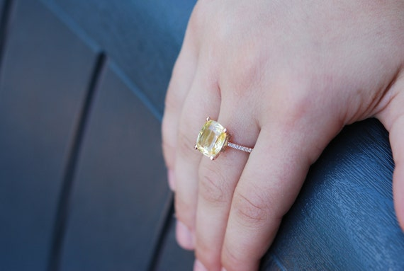 5ct Yellow sapphire ring. Canary yellow ring. Cushion 14k rose