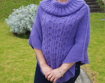 Alpaca Poncho made from 80% Alpaca Wool Turtleneck Purple made in Ecuador