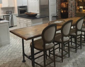 Kitchen island, reclaimed wood, dining table, metal pipe legs