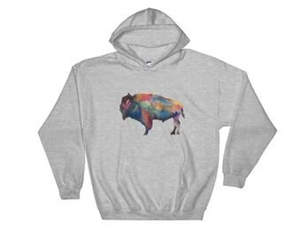 Watercolor Buffalo Print Hooded Sweatshirt