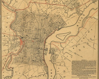 Poster, Many Sizes Available; Map Of City Of Philadelphia 1858