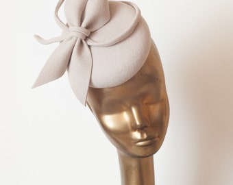 Unique Modern Light Beige Fur FELT FASCINATOR. BRIDAL Fascinator