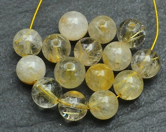 7mm Natural Golden Rutilated Quartz Gemstone Beads