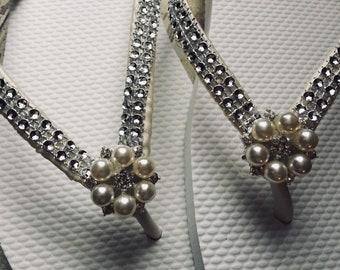 Annabeth Bridal Flip Flops - Custom Flip Flops Pearl Gem Dancing Shoes Bridal Sandals Wedding Flip Flops Beach Wedding Shoes