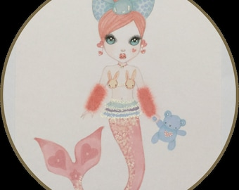 Original art pastel mermaid fantasy lowbrow art