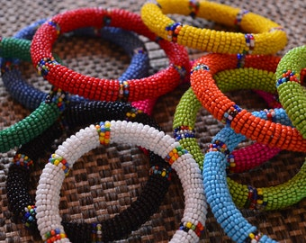 Maasai Beaded Bangles. African Bead Bracelets. African jewelry. Tribal bracelets.
