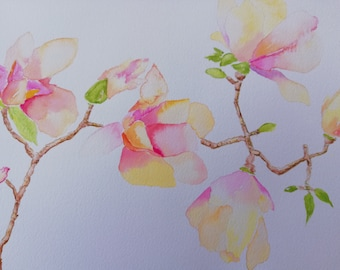 Watercolor painting original magnolia pink-yellow