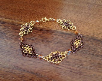 Copper and Gold Tone European Chainmaille Swarovski Crystal Bracelet