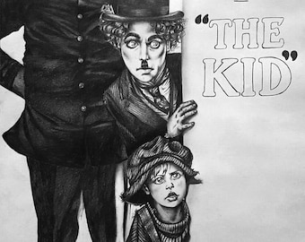 "A2 Cartoon Drawing of Charles Chaplin's ""The Kid"""