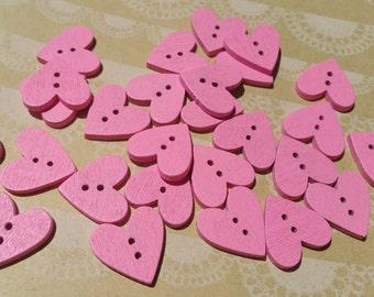 """Wood Pink Heart Buttons - Pink Wooden Heart Button - Bulk Buttons - 3/4"""" Wide - 25 Buttons"""