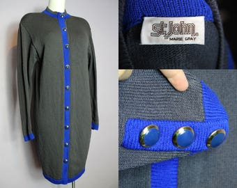 Sale /// Vintage 70's ST JOHN By Marie Gray Grey Santana Knit Blue Trim Cardigan Dress US 8 M