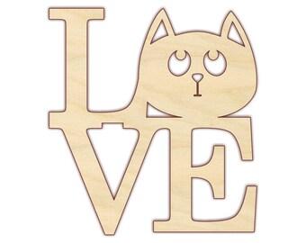 LOVE Cat Wood Cutout - Unfinished Wood - 160353