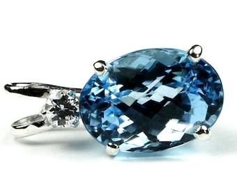 Swiss Blue Topaz, 925 Sterling Silver Pendant, SP019