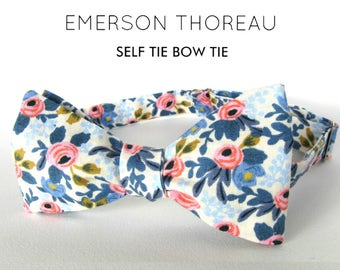 White Floral Bow Tie / Self Tie Handcrafted Menswear Bowtie Cotton Flower Spring Wedding Groomsmen Custom Freestyle Adjustable Various Sizes