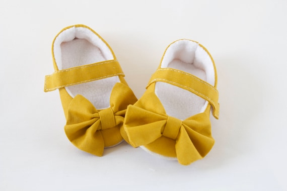 Mustard Mary Jane soft sole baby girl shoes, with over sized bow