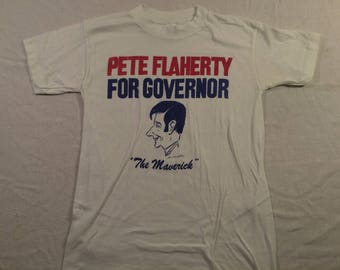 Medium 1978 Pete Flaherty For Governor men's T shirt vintage 70's politics Pittsburgh Pennsylvania 1970's