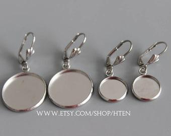50pcs Stainless Steel Earring Bases Blanks 8mm10mm 12mm 14mm 16mm 18mm 20mm  Earrings settings blank