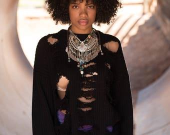 Revamped Black Shredded Sweater