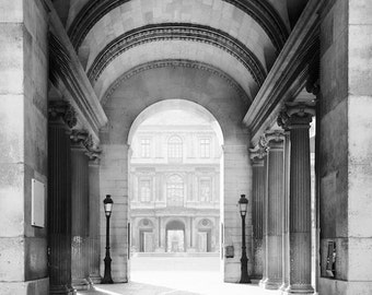 Paris black and white photography, covered passage, Paris photography, black and white photo, Paris architecture, fine art print