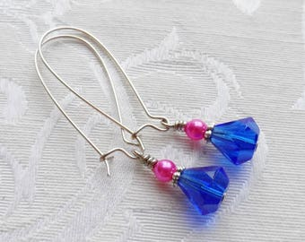 75% Off, Vintage Glass Bead, Royal Blue, Hot Pink Czech Glass, Silver Accent