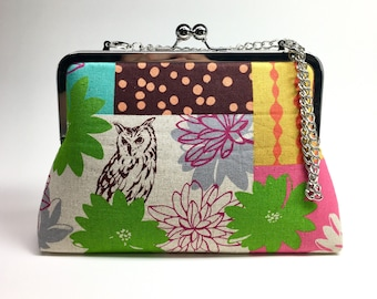 Kisslock Clutch Purse with chain - Large - Patchwork Owl