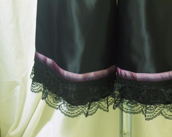 Black Bloomers, Pantaloons, Knickers in Rayon-Acetate Satin w/ Purple Ombré Silk Ribbon & Black Ruffled Lace Trims, Size M