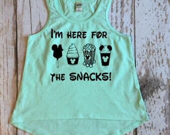 I'm Just Here for the Snacks Girls High Low Tank, Disney, Disney Snacks, Ice Cream