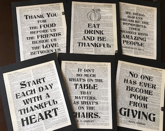 Thanksgiving Decoration Dictionary Quote Set Decoration Set of 6