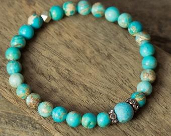 Stretch Bracelet, Stack Bracelet, Turquoise Bracelet, Boho Bracelet, Stretchy Bracelet, Jasper Bracelet, Layering Bracelets, Beach Jewelry