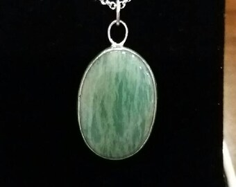 Amazonite and sterling silver pandant, large stone neclace with 18 inch silver snake chain