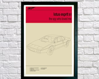 James Bond print, Bond cars, 007 poster print, The Spy Who Loved Me, Lotus Esprit S1, James Bond Poster, Present for Him Fathers Day Present