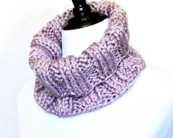 Pink Knit Cowl, Mauve Ribbed Neck Warmer, Light Purple Short Infinity, Turtleneck Collar Scarf - Wide, Ribbed Knit