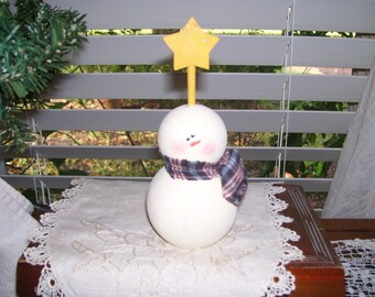 Snowman: Handmade Custom Built Snowman with a guiding light star