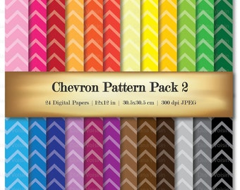 Chevron Digital Scrapbook Paper Stripe Digital Scrapbooking Paper Variety 24 Pack Patterns - Commercial Use OK