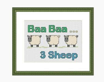 Cross Stitch Pattern, Modern Cross Stitch, Sheep cross stitch pattern - Instant download PDF