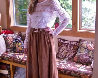 Vintage Suede skirt, Leather Skirt, Brown Suede skirt, Western Leather skirt, size M