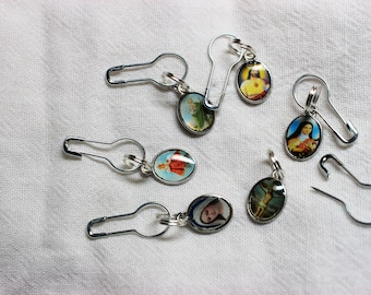 Set of Convertible Knitting and Crochet Stitch Markers in Sacred Heart Medallions